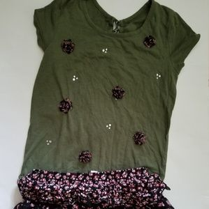 JUSTICE Girls 12 outfit, Top and Flowered Skort